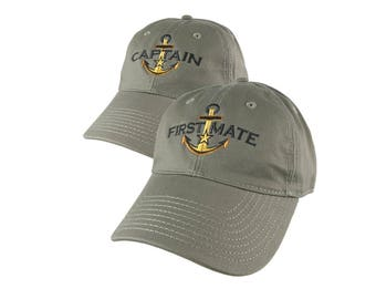 Nautical Star Golden Anchor Captain +First Mate Embroidery 2 Adjustable Olive Green Unstructured Baseball Caps Options Personalize Both Hats