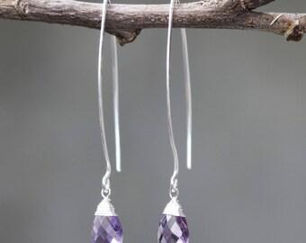 Amethyst drop silver earring.