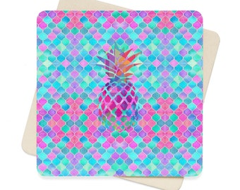 Pineapple Scales Square Paper Coaster Set  6Pcs