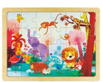 Hands Craft DY2402 Wooden Jigsaw Puzzle 24pc: Wild animals