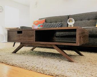 Retro-modern Walnut coffee table | Solid hardwood mid-century modern minimalist | Made to order