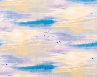 Sky and Birds Fabric 100% Cotton Quilting Apparel Crafts Home decor