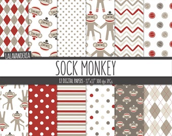 Sock Monkey Digital Paper Pack. Baby Monkey Patterns. Printable Papers Set. Cheecky Monkey Backgrounds. Digital Scrapbook. Instant Download