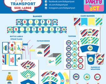 Transport kids party printables, boys party, party paper decoration, Birthday Party Package, printables, printing party decorations