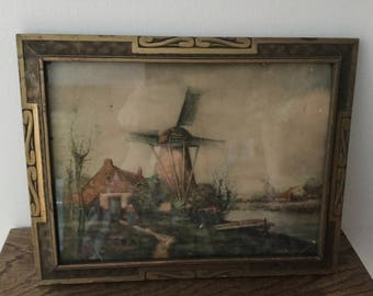 Vintage FRAME    Frame and Windmill Picture