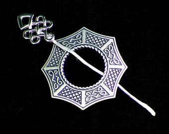 Celtic Shawl Pin SIlver Mimimalistic Brooch Vintage Hammered Minimalist  Cloak Style Scarf Pin Outlander Stick Pin Outlander