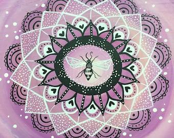 save the bees - bee painting - original painting in reclaimed wood frame - honeybee mandala - bee mandala - mandala painting - honey bee art