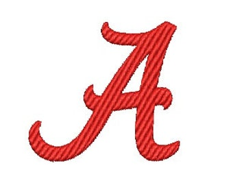Alabama A Embroidery Font (569) Instant Download