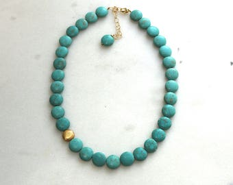 Modern Turquoise Coin Necklace with Gold Vermeil...