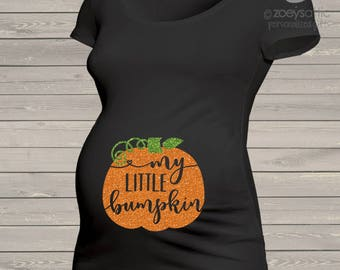 Fall pumpkin little bumpkin glitter maternity top - perfect for Halloween and Thanksgiving  MMAT-072-b