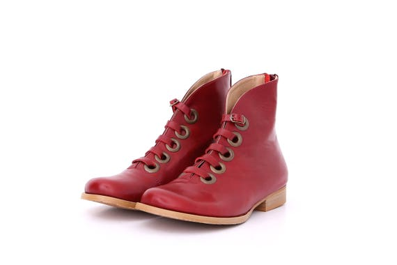 b49f8bdcd3 ADIKILAV combat Leather Edgy Metal boots free Red Flats boots wide Burgundy  with Grommets shipping Womens ...