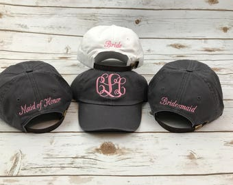 Wedding party Hats, Womens hat, monogrammed hat, monogram hat, monogrammed cap, womens baseball cap, bridesmaids hats, bridesmaid gift