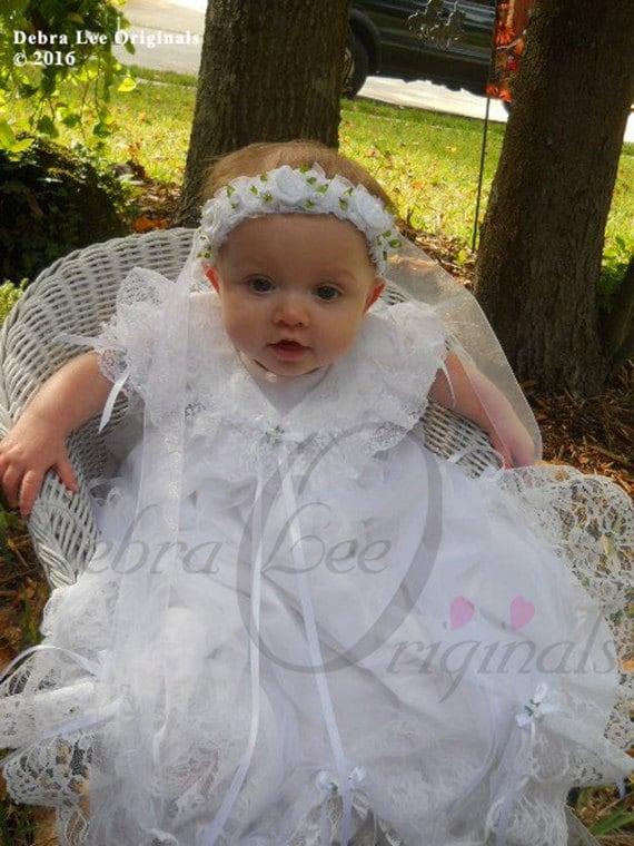 Mary Baby Girl White Christening Gown / Christening Dress