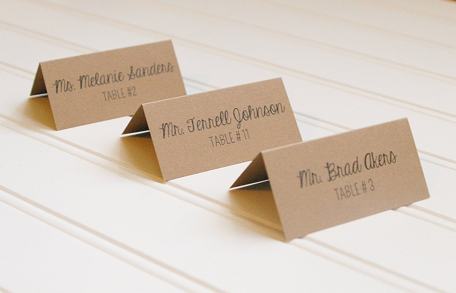 New Kraft Paper Place Cards Table Numbers. Rustic Wedding. YS67