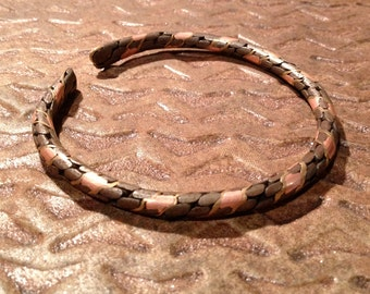 Vintage Southwestern Twisted Wire Bracelet,Copper and bronze