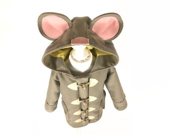 childrens mouse coat kids grey pink cute duffle coat mouse ears whiskers JULY 2018 olive and vince kids gray cute mouse animal themed jacket