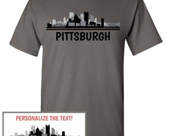 Pittsburgh Skyline T-Shirt - Men Women Youth Long Sleeve Personalized Custom Tee - PA Pennsylvania Cityscape