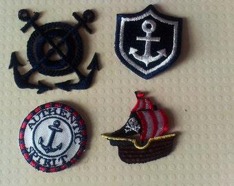 Set 4 maritime motifs - anchor, pirate