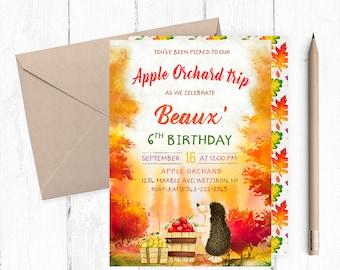 Apple Picking Invitation, Apple Birthday Invitations, Apple Orchard Party Invites, Apple Birthday Invite, Apple Picking Party, Apple Invites