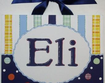 Plaid, Stripes, Canvas name sign, Personalized, Hand Painted, Nursery wall art, Boys wall art, Navy blue, yellow, Monogram wall art, art