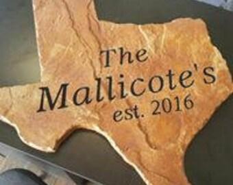 2ft Texas Shaped custom engraved cast stone