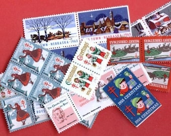 20 Assorted Vintage Christmas Seals by the Year - Every Year Available 1930 to 2000 Of Any One Year - Tell Us the Year in Comments