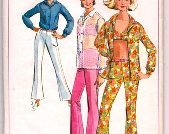 Simplicity 6501, THEATRE, Vintage Sewing Pattern, Bell Bottom Pants, Shirt, Bra-top, 1960s