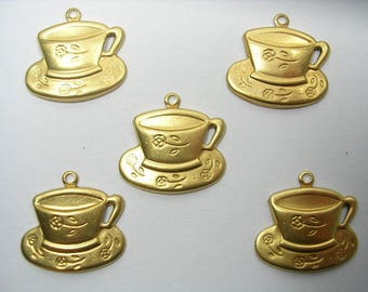 LOT 5 METALS CHARMS Gold: Coffee cup 20 mm