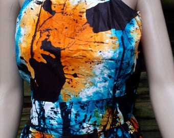 African Batik Tie & Dye multicoloured, mid length dress with back zip detail size UK 14 - Large