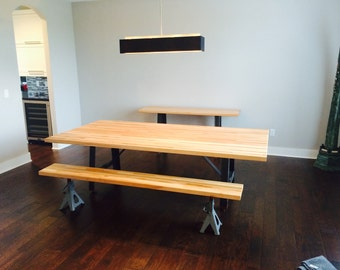 8 Industrial Dining Table Butcher Block Top