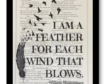 "William Shakespeare Quotes ""I am a feather for each wind that blows"" Shakespeare Quote, Vintage Shakespeare Book Page Art, 7x10 Size"