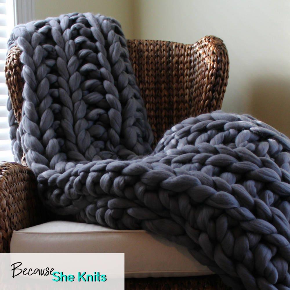 Chunky Knit Blanket Dark Grey Blanket Chunky Knit Blanket
