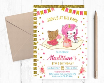 Picnic Birthday Party Invitation, Unicorn Picnic Invitations, Picnic Unicorn Invitation, Picnic Invites, Park Unicorn Invitations, Invite