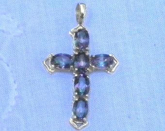 14k SOLID GOLD, Mystic, Natural Topez, Genuine Gemstone Cross, Gorgeous