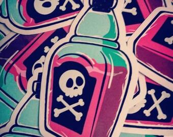 Etiqueta engomada del vinilo botella de veneno