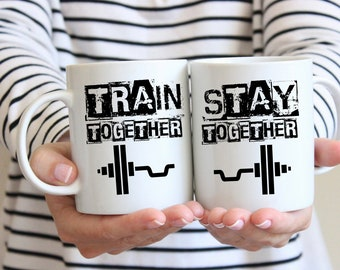 Train Together Stay Together, His and Hers, Mr and Mrs, Bride and Groom, Fiance, Fiancee, Workout, Couple Gift, Gym, Bodybuilder, Weights