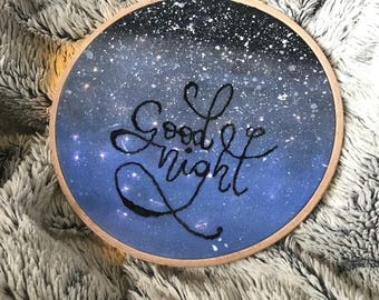 """Embroidered bright frame """"Good Night"""""""