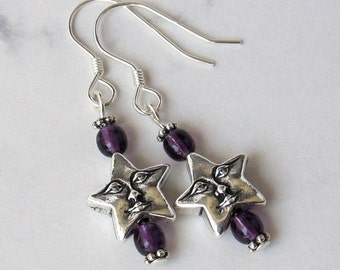 Celestial Happy Star Face Charm Earrings with Purple Czech Glass Beads - Sterling Silver Earwires - Metaphysical
