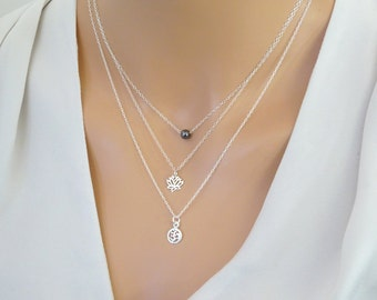 Layered Necklace Set, Sterling Silver Layering necklace set, Hematite necklace, Lotus pendant, Om necklace, yoga necklace
