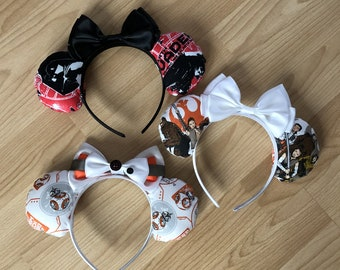 Star Wars inspired Mickey/Minnie Disney ears featuring BB-8, Poe, Rey, Flynn, Darth Vader