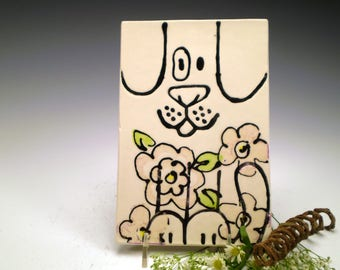 Seconds Sale, Dog with Flowers, Ceramic Tile Art, Tile Wall Hanging, Ceramic Wall Art, Dog Lover Gift