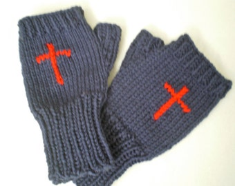Knitted Blue  Fingerless  Woman Gloves, with Red or White Cross ,1 size fits all,