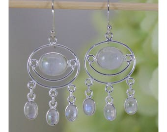 Naturally Glowing Moonstone Chandelier Earrings in Sterling Silver