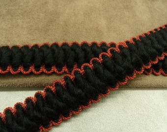 FANCY wool Ribbon - 2.5 cm - black & Red