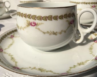 Z.S. & Co. Teacups and Saucers (5), 1888-1918 (Zeh, Scherzer, and Company)