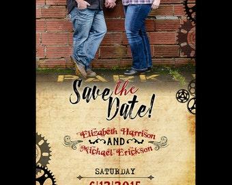 Steampunk Save The Date / Steampunk Wedding 5x7 / Steampunk Wedding Suite / Inviation Suite / Steampunk / Gears / 5x7