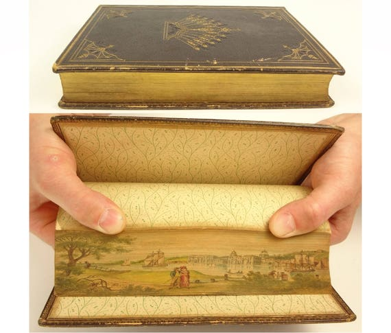 1834. Fore-edge painting of Greenwich Hospital London. Poems by Samuel Rogers.