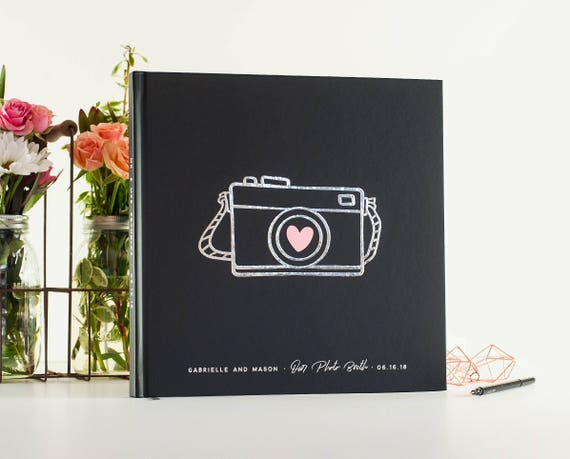 Wedding Guest Book silver foil wedding guestbook wedding photo book photo guest book Wedding Photo Guest Book Scrapbook Instant Photo booth