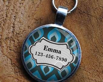 Pet iD Tag blue patterned colorful round Dog Tag 35mm round -  by California Mutts