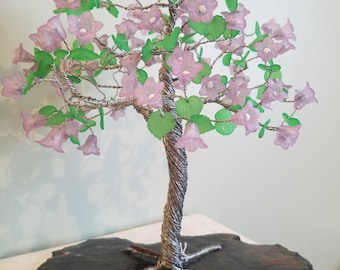 Lavender Tulip Blossom Silver Tree with Green Leaf Accents.